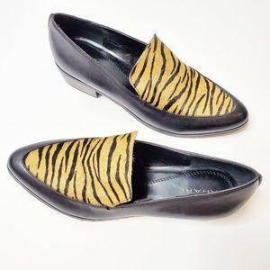 Tahari Black Animal Print Loafers Shoes Timo 8.5